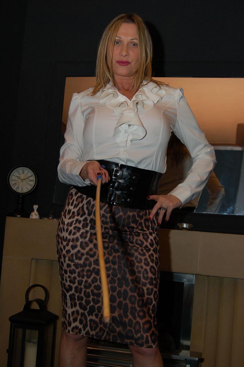 Secretary in stockings